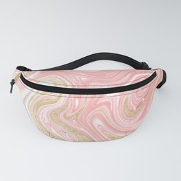 Modern pink coral marble gold glitter pattern Fanny Pack