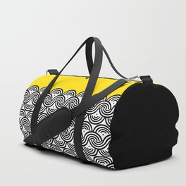 Great Half - black and white block print with sunny yellow accent Duffle Bag