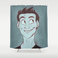 stiles stilinski Shower Curtains featuring Stiles by The Art of Nicole