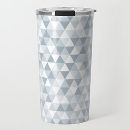 shades of ice gray triangles pattern Travel Mug