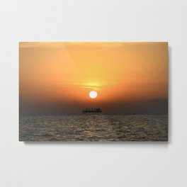 Open Sea Sunset - Greece - Landscape and Rural Art Photography Metal Print