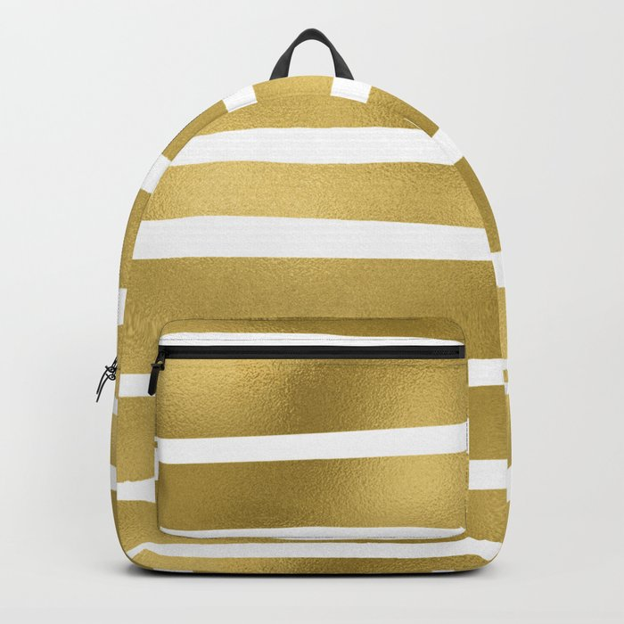 Simply Luxury Gold unequal glitter stripes on clear white - horizontal  pattern Backpack