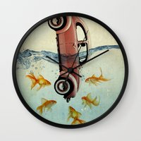 vw Wall Clocks featuring VW beetle and goldfish by Vin Zzep