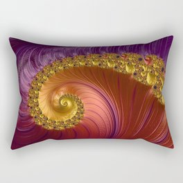 Purple Gold and Red Fractal Spiral Rectangular Pillow