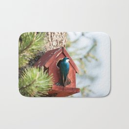 Blue Swallow Photography Print Bath Mat
