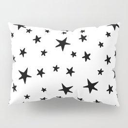 Stars - Black on White Pillow Sham