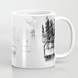 Snow Blasted // Black and White Ride on the Skilift in Blizzard Wind Coffee Mug