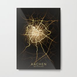 Aachen city night light map Metal Print