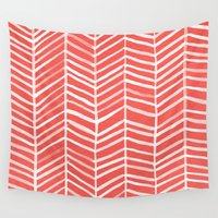 coral Wall Tapestries featuring Coral Herringbone by Cat Coquillette