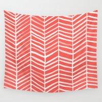 herringbone Wall Tapestries featuring Coral Herringbone by Cat Coquillette