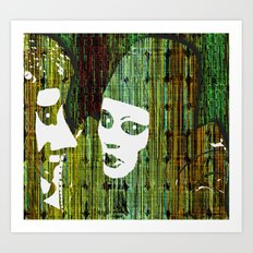 LOVE BETWEEN MASKS Art Print