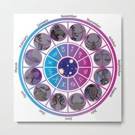 Starlight Zodiac Wheel Metal Print