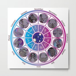 Starlight Zodiac Wheel Metal Print
