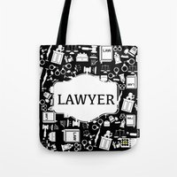 lawyer Tote Bags featuring BLACK LAWYER by Be Raza