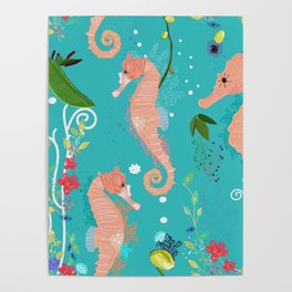 Seahorse and Sea Plants. Colorful Underwater Pattern Poster