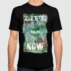Life Starts Now MEDIUM Mens Fitted Tee Black