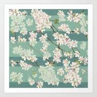 sakura Art Prints featuring Sakura by Maria Durgarian