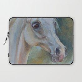 Gray Arabian Horse portrait Arab Horse head oil painting Laptop Sleeve
