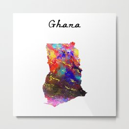 Ghana 617 Watercolor Map Yoga Quote Definition Des Metal Print