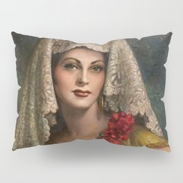 Spanish Beauty with Lace Mantilla and Comb by Jesus Helguera Pillow Sham