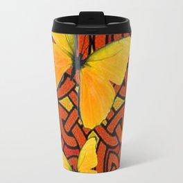 COFFEE BROWN YELLOW BUTTERFLIES CELTIC ART PATTERN  ART Travel Mug