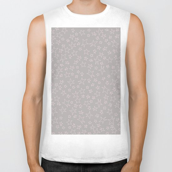 Pink handpainted little stars on grey background Biker Tank
