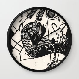Herbie's Tune, Abstract Jazz Instruments Black and White Block Print Wall Clock