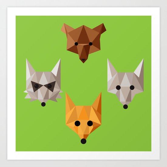 Geometric animals Art Print