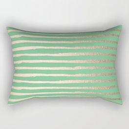 Abstract Stripes Gold Tropical Green Rectangular Pillow