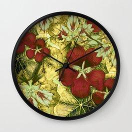 nasturtium with golden leaves Wall Clock