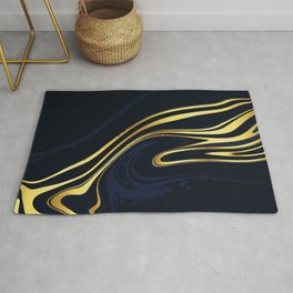 Blue And Gold Marble Rug