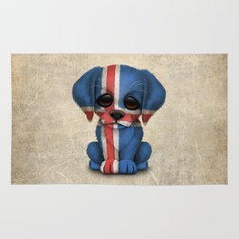 Cute Puppy Dog with flag of Iceland Rug