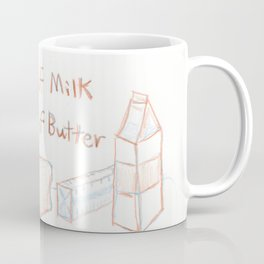 Loaf of Bread, a container of milk, and a stick of butter Coffee Mug