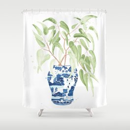 Ginger Jar + Eucalyptus Shower Curtain