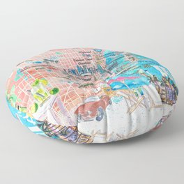 Miami Florida  Illustrated  Travel  Map  with  Roads  and  Highlights Floor Pillow