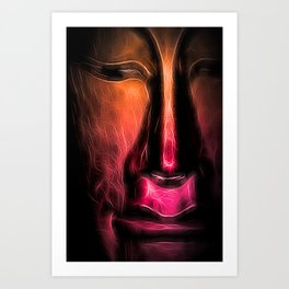 BuddhaFace orange Art Print