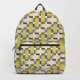 Golden Woven Basket-Look Backpack