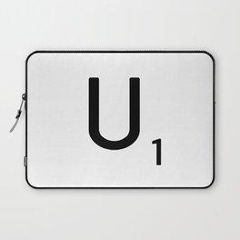 Letter U - Custom Scrabble Letter Tile Art - Scrabble U Initial Laptop Sleeve