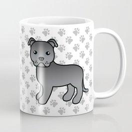 Blue English Staffordshire Bull Terrier Cartoon Dog Coffee Mug