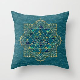 Sri Yantra  / Sri Chakra Gold, Marble and Teal Throw Pillow