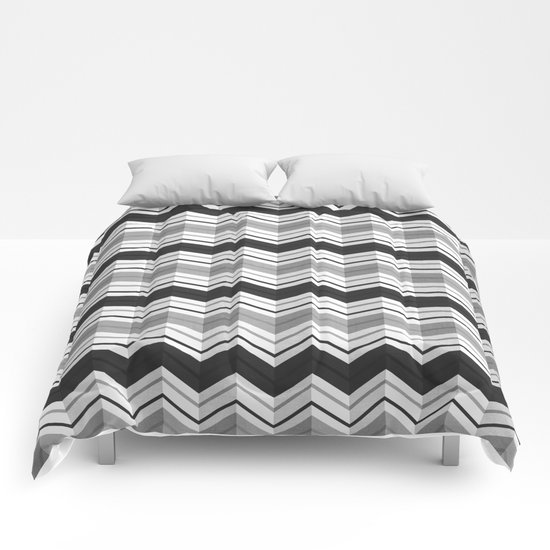 CHEVRON STRIPES - BLACK Comforters