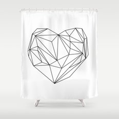 Heart Graphic (black on white) Shower Curtain