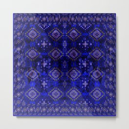 N128 - Royal Blue Traditional Oriental Moroccan Style Design  Metal Print