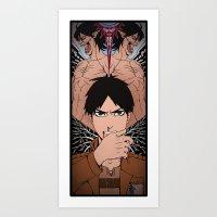 shingeki no kyojin Art Prints featuring Shingeki no Kyojin - Eren card by kamikaze43v3r