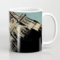 downton abbey Mugs featuring Westminster Abbey by sinonelineman