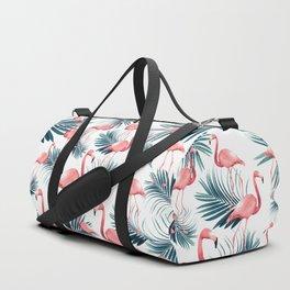 Summer Flamingo Palm Vibes #1 #tropical #decor #art #society6 Duffle Bag
