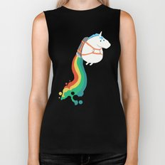 Fat Unicorn on Rainbow Jetpack Biker Tank