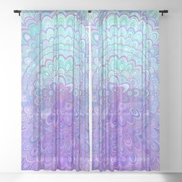Mandala Flower in Light Blue and Purple Sheer Curtain