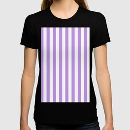 Narrow Vertical Stripes - White and Light Violet T-shirt