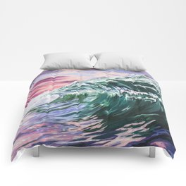 Ocean #2 // Colorful Wave Acrylic Painting Comforters